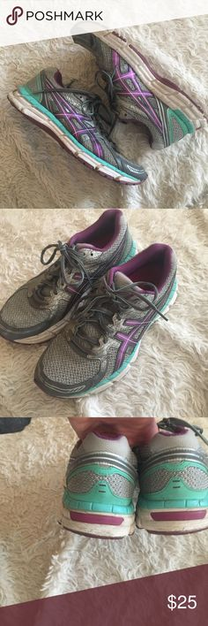 ASICS GEL Excite 2 Grey, Purple and Teal Running Shoes in Good Condition. Rear foot gel cushioning for low-mileage running. Front right intact; but looks not as secure as other side. ✨OFFERS WELCOME✨ Asics Shoes Athletic Shoes