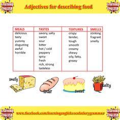 Adjectives for describing food part 1