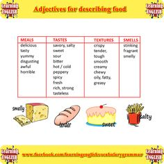 Adjectives for describing food part 1