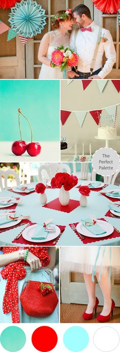 Wedding Colors I Love | Shades of Red + Aqua! http://www.theperfectpalette.com/2013/08/wedding-colors-i-love-shades-of-red-aqua.html