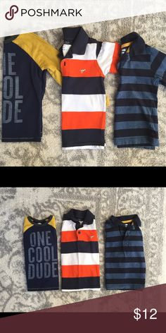 "Bundle of boy's 3T tops. Bundle of boy's 3T tops. Three long-sleeved shirts included in this purchase. All are size 3T. ""One Cool Dude"" is Old Navy brand; blue striped is ""Wonder Kids"" brand; orange striped is ""Wrangler Jeans Co"" brand. All are in excellent condition. **Comes from a smoke-free and pet-free home. Check out my closet for other boy and girl clothing items size newborn through 3T. Bundle to save!!! I'm always open to offers! Happy Poshing! :) Old Navy Shirts & Tops Tees - Long…"