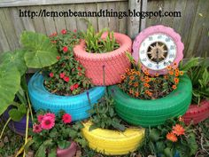 Old tires can make colorful planters.