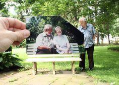 """A página """"Querida Fotografia"""" convida pessoas a fotografarem sobreposições de fotos antigas, criando elo entre passado e presente."""