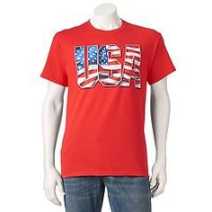 Rep your country with pride when you throw on this men's USA tee. Kohls, Graphic Tees, Mens Tops, Clothes, Box Store, Women, Usa, Spring, Free