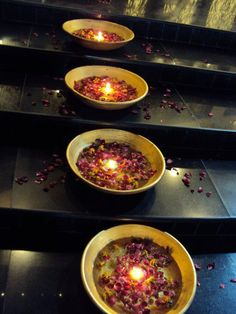 floating candles and flowers on the stairway.