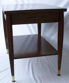 Mid Century Mersman Wood End Table With Drawer & Shelf