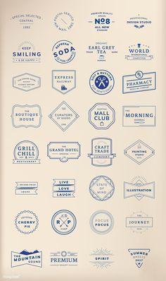 Illustration set of vector emblem label Brand Identity Design, Branding Design, Typographie Logo, Free Vector Illustration, Photocollage, Badge Logo, Badge Design, Graphic Design Inspiration, Sticker Design