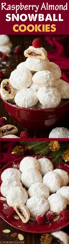 Raspberry Almond Snowball Cookies (jam stuffed snowballs) - A new favorite Christmas cookie! Totally divine!