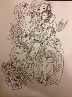 Sketch of the half sleeve tattoo I want / I messed up on the baby, will look much better when an actual tattoo artist draws it/ it's like my life: innocent bow (teen mother) gun skull clock on one side (dead part of me); empty glass time (eternity in heaven), baby/motherhood, love locket, key, weeping angel, Holy Spirit (dove), hidden nursing candle, (life) on the other