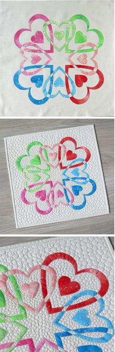 Heart quilt- made with the easiest and fastest technique- fusible raw edge applique.  via @getagrama