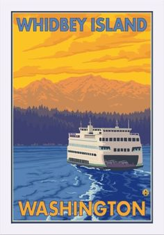 Whidbey Island, Washington - Ferry and Mountains - Lantern Press Artwork (16x24 Giclee Art Print, Gallery Framed, White Wood), Multi