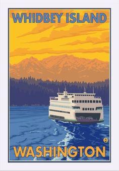 Whidbey Island, Washington - Ferry and Mountains - Lantern Press Artwork (16x24 Giclee Art Print, Gallery Framed, White Wood), Multi