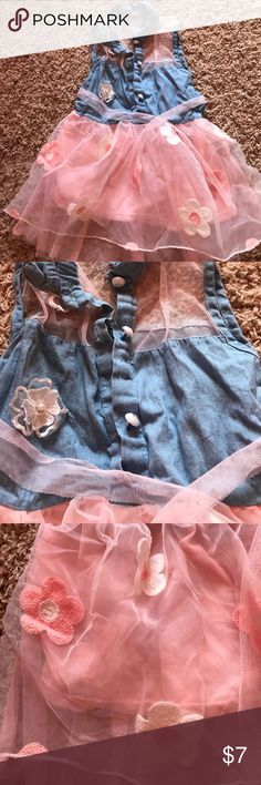 Girls Sheer flowery denim dress 💜pink sheer denim burnout dress.                                                                💜button up top with flowers on sheets                                      💜little wrinkled from crate it was in good condition                                   💜smoke /pet free boutique dress Dresses Casual