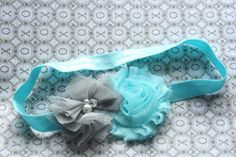 Tiffany Blue and Gray Spring Headband - Newborn Baby Little Girls Hair Bow - Tulle Flower and Shabby Flowers
