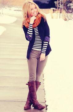 Stripes, boots, blazer, chunky scarf