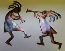 Southwest hanging ornaments | Copper/Bronze Plated Arizona Kokopelli's Set of 2 Metal Wall Art