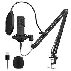etc. KTV Compatible with PC and Mac for Live Broadcast Show Color : Black Live Broadcast Accessories Q6 Professional Game Condenser Sound Recording Microphone with Holder Black