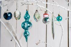 Satz von 7 blau Weihnachtsschmuck Jahrgang Glas von Grannysbox