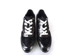 89392d43f825a0 Référence: Run Hiv en cuir noir, cuir glacé métal et paillettes noires  Marque: