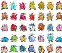 New Zealands fashion experts are Kiwi Birds-  Cartoon Kiwi Birds fabric by lillyarts on Spoonflower - custom fabric