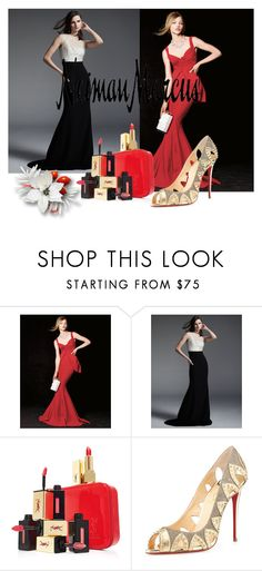 """The Holiday Wish List With Neiman Marcus: Contest Entry"" by edinah-91 ❤ liked on Polyvore featuring La Petite Robe di Chiara Boni, Carmen Marc Valvo, Yves Saint Laurent, Christian Louboutin and Neiman Marcus"