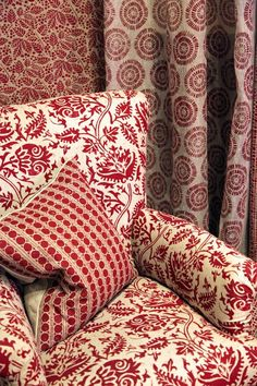 Lindsay Alker furnishing fabrics Liberty London. Red pattern on pattern