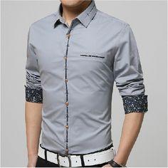 New Slim Fit Casual Shirt Men Long Sleeve Mens