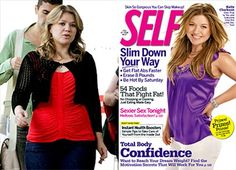 """When superstar singer Kelly Clarkson was digitally slimmed down almost beyond recognition on Self's September 2009 cover, people noticed. Her appearance on """"Good Morning America"""" within just days of the cover shoot proved that her body did not look anything like the very thin one that appeared on the cover. In a shockingly ironic twist, the issue she appeared on was titled """"The Body Confidence Issue"""" and featured an interview inside where she explained how comfortable she felt with her body."""