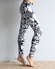 Black and White Organic Leggings Printed Leggings by eleven44