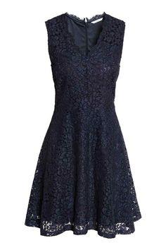 Kanten jurk met V-hals - Donkerblauw - DAMES | H&M NL