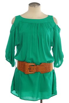 300678 Green Peep Shoulder Top  Price: $32.95  Sizes: Small, Medium, Large  http://www.giddyupglamouronline.com/catalog.php?item=3727