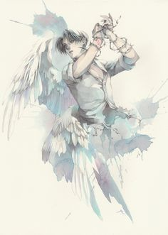 Levi Ackerman || Love the wing art and the colour of the pic. But Levi's face is a bit.. Hmmm..