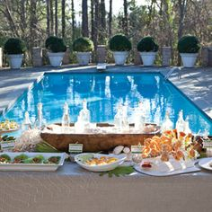 backyard luau or poolside party love the sauce in a scallop shell
