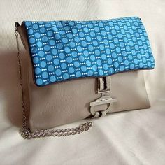 Clocréations-sac bandoulière géométrie bleu
