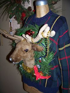 Ugly Christmas Reindeer Head Ready to Party Blinking Nose Sweater Size L Winner | eBay