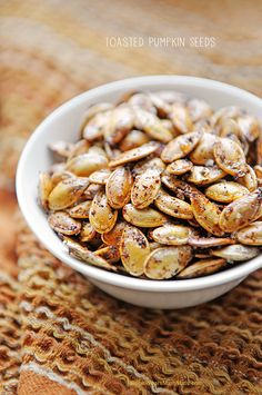Spicy Toasted Pumpkin Seeds are a quick and healthy snack and the perfect way to use those leftover pumpkin seeds from pumpkin carving.