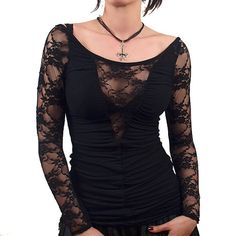 ♥ Gothic black lace long sleeve top
