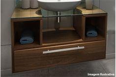 R$ 792 - Gabinete Izar para Banheiro com Cuba em Resina E Espelho 50x50cm