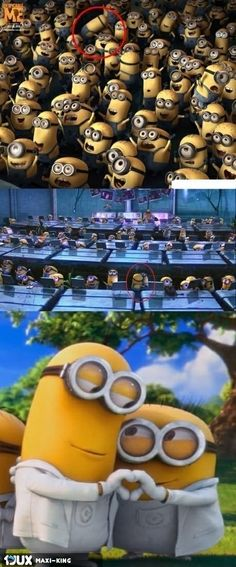 Despicable me scenes have been carefully looked at to spot that there is a couple in the minions! Universal say this was on purpose to see how many would notice and how many look past the minions! Amor Minions, Cute Minions, Minions Despicable Me, My Minion, Minions Quotes, Minions 2014, Minion Humor, Minion Banana, Funny Minion Pictures
