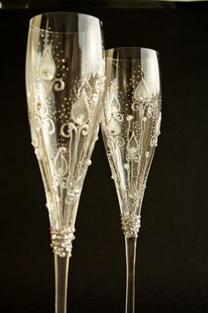 CRYSTAL Wedding Champagne Flutes Hand Painted by NevenaArtGlass, $67.80