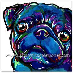 Black Pug Face art print by CartoonYourMemories on Etsy