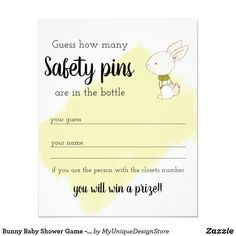 Bunny Baby Shower Game - Safety pins Flyer Holiday Cards, Christmas Cards, Baby Shower Games, Baby Showers, Custom Flyers, Fine Paper, Grand Opening, Christmas Card Holders, Hand Sanitizer