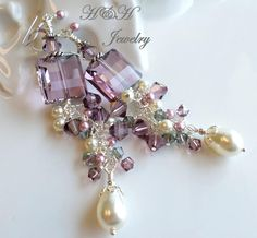 Antique Pink Swarovski Crystal and Pearl Cluster Dangle Earrings by hhjewelrydesigns on Etsy
