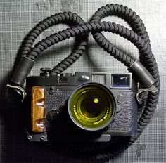 Paracord Snake Braid Camera Strap and Wood Grip on My Leica M6