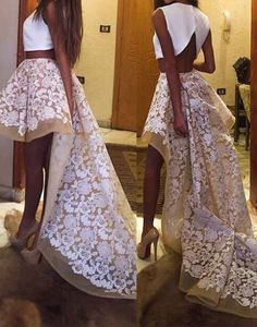 white two pieces high low prom dress, white lace evening dress for teens