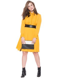 Studio Ruffle Shirt Dress | Women's Plus Size Dresses | ELOQUII