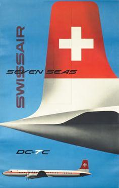 Swissair - Seven Seas by Wirth, Kurt Travel Ads, Travel Images, Air Travel, Vintage Graphic Design, Retro Design, Vintage Travel Posters, Vintage Ads, Poster Vintage, Retro Airline