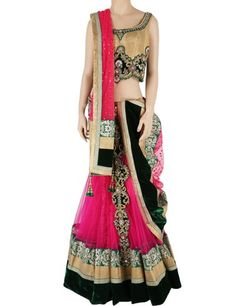 G3 exclusive raw silk net beige magenta designer wedding wear lehenga choli Product Code: G3-WLC0721 Price: ₹ 27,060.00