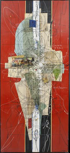Etienne Gelinas, Oeuvre - Comp.278 - mixed media abstract; exciting composition