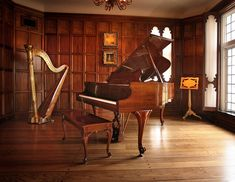 Music Room- piano, harp, would have place to play violin